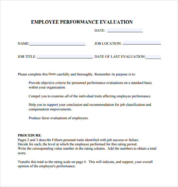 Performance Evaluation Form 9 Free Samples Examples Formats – Employee Performance Evaluation Form Free Download