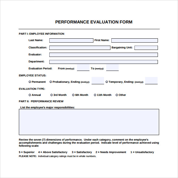 Performance Evaluation Form 9 Free Samples Examples Formats – Performance Evaluation Forms