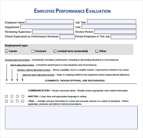 performance evaluation form to print