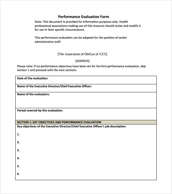 Performance Evaluation Form - 9+ Free Samples , Examples & Formats