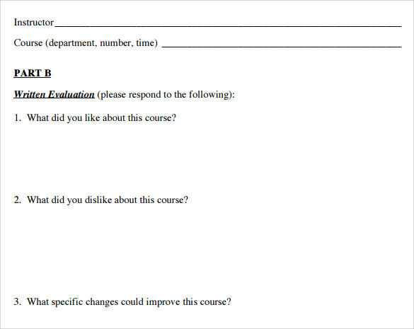 Student Evaluation Forms 7 Free Samples Examples Formats – Student Evaluation Forms