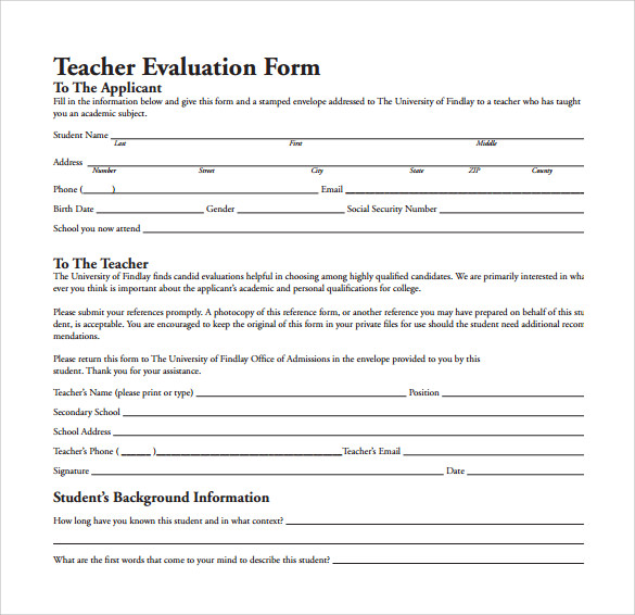 Teacher Evaluation Form - 8+ Free Samples , Examples & Formats