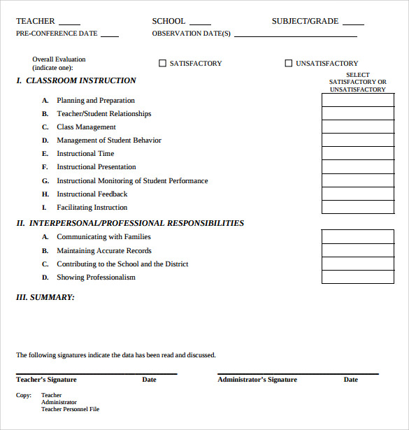 Teacher Evaluation Form   Free Samples  Examples  Formats