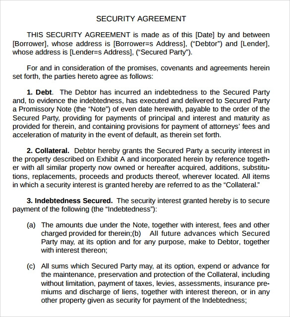 Sample Security Agreement   Documents In Pdf Word