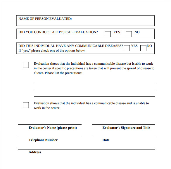 student physical evaluation form