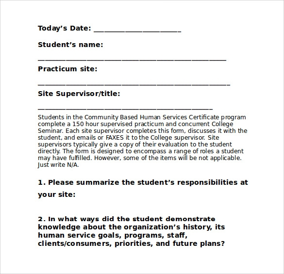 word download student evaluation form