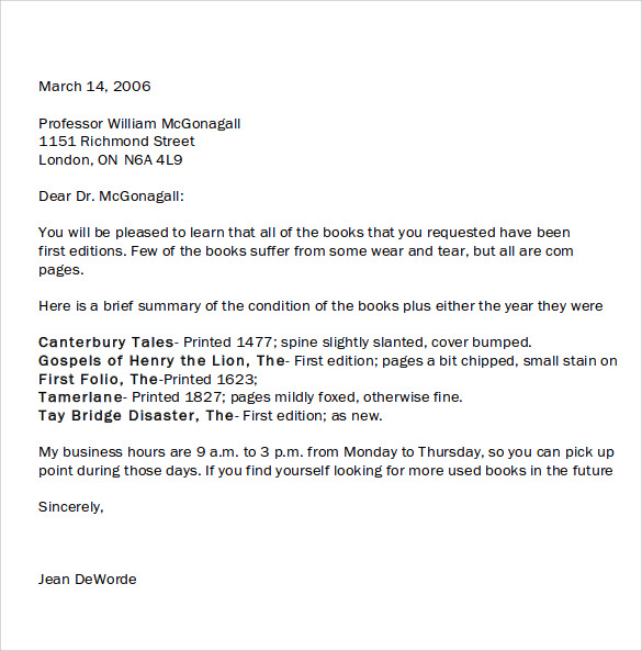 Sample Personal Business Letter – 7 Samples , Examples , Format