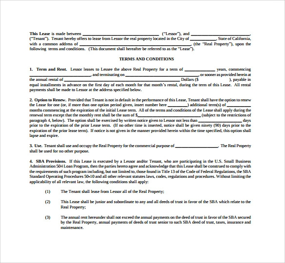 Sample Commercial Lease Agreement Template 5 Documents In PDFWord – Sample Commercial Lease Agreements
