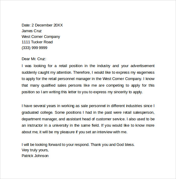 sample retail cover letter