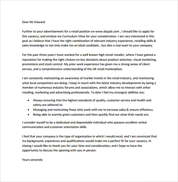 retail cover letter example template