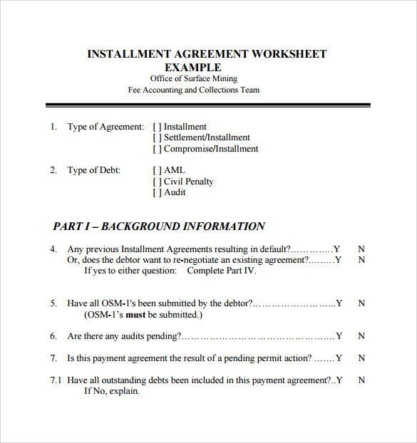 installment agreement worksheet example