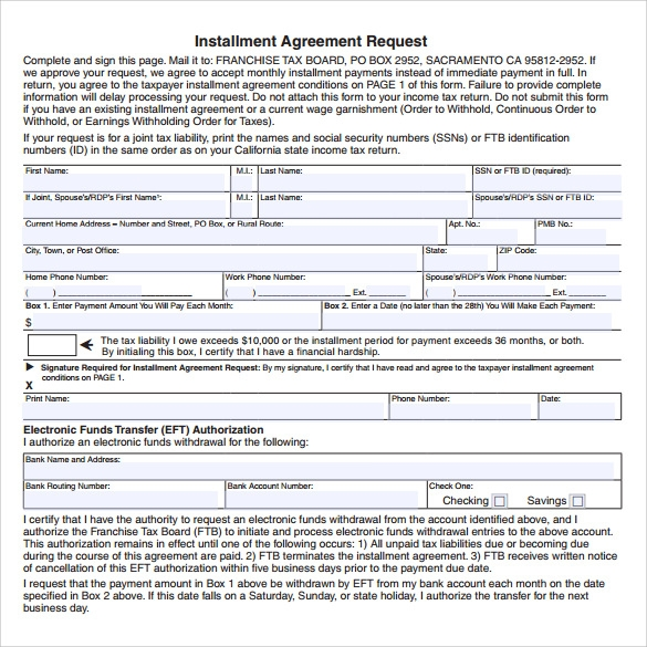 downloadable installment agreement