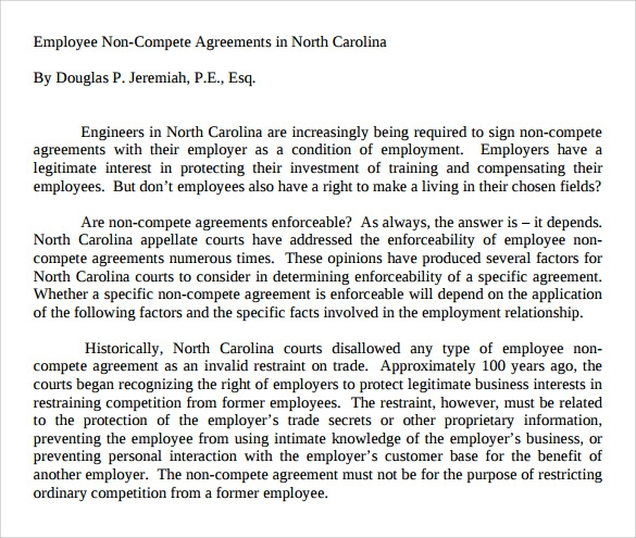 simple non compete agreement