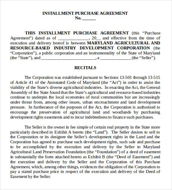 7 Sample Installment Agreements