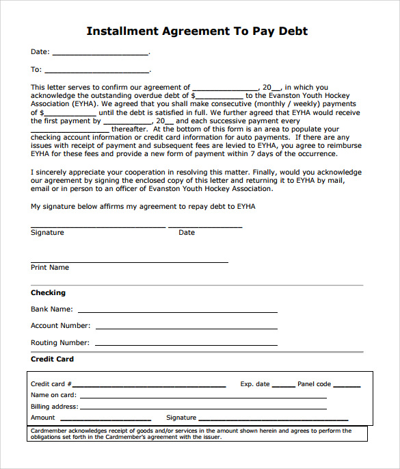 7 sample installment agreements sample templates