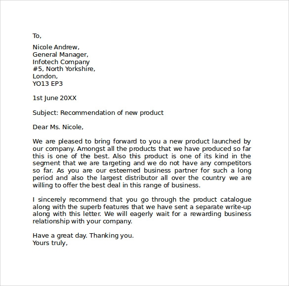 sample standard business letter format word
