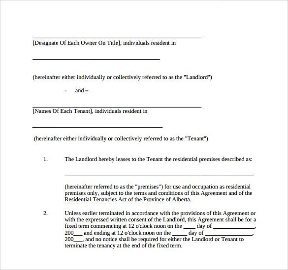 Doc407527 Sample House Lease Agreement Printable Residential – Sample House Lease Agreement Example