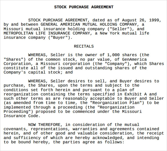 Stock Purchase Agreement Template 9 Free Samples Examples Formats – Stock Purchase Agreement