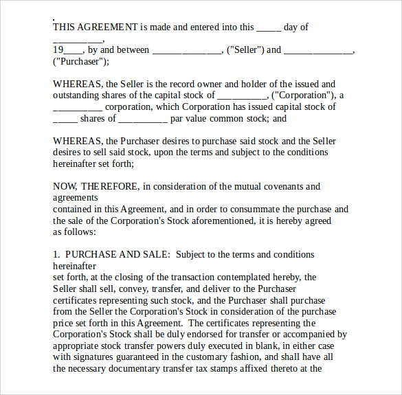 Stock Purchase Agreement Template   Free Samples Examples Formats