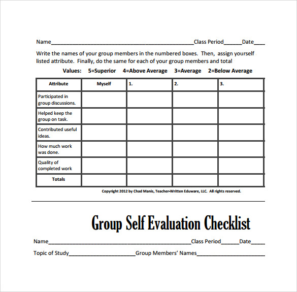Peer Evaluation Form - 6+ Free Samples , Examples & Formats