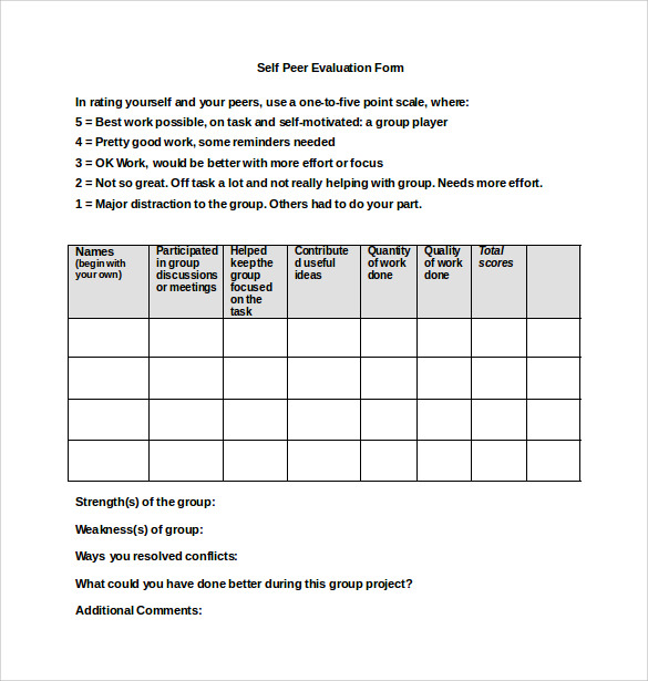 Peer Evaluation Form   Free Samples  Examples  Formats