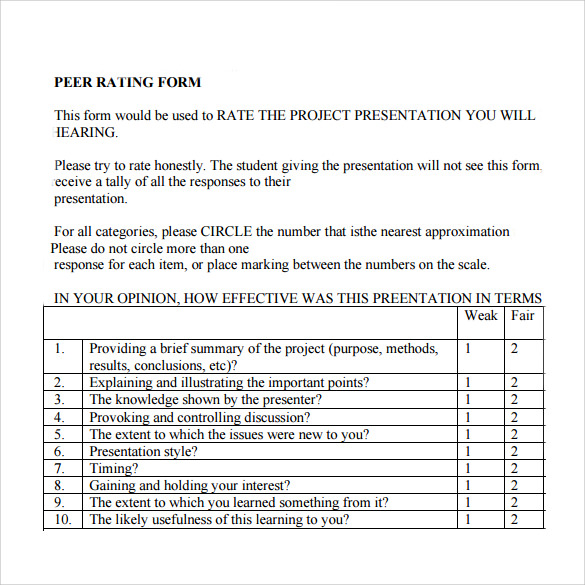 Peer Evaluation Form 6 Free Samples Examples Formats – Peer Evaluation Form