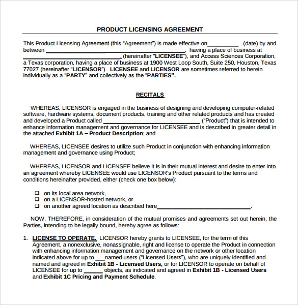 21 License Agreement Samples Word Pdf