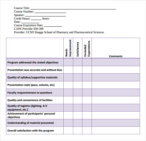 Sample Program Evaluation Form 11 Free Samples Examples Formats – Sample Program Evaluation Form