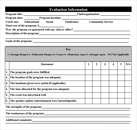 Sample Program Evaluation Form 11 Free Samples