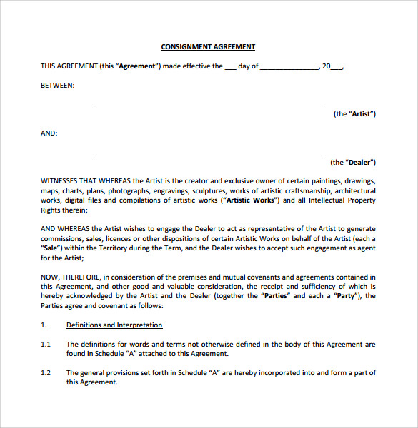 Sample Consignment Agreement 7 Documents In PDF Word – Sample Consignment Agreement