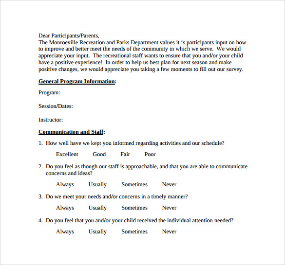 Sample Program Evaluation Form 11 Free Samples Examples Formats – Program Evaluation Form