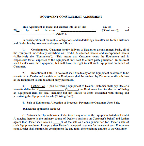 Sample Consignment Agreement   Documents In Pdf Word
