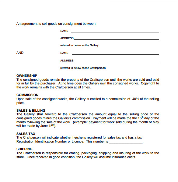 consignment agreement format free consignment contract template non compete consignment