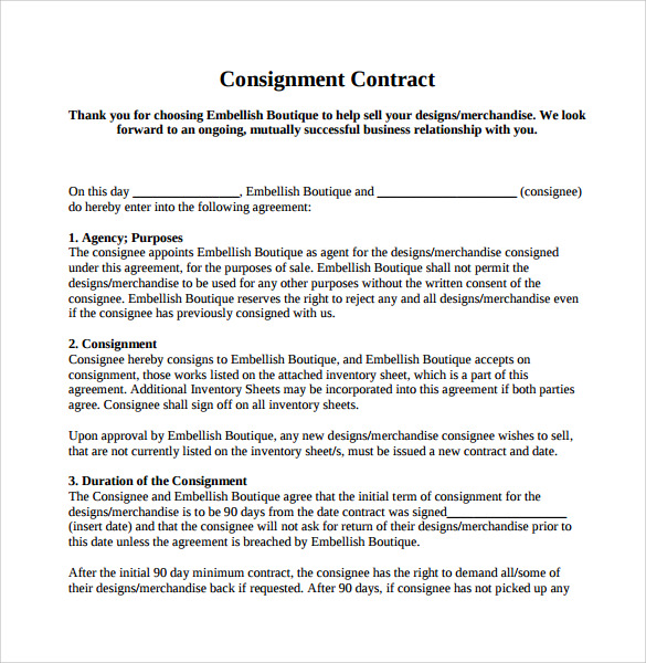 8 sample consignment agreements sample templates for Consignment store contract template