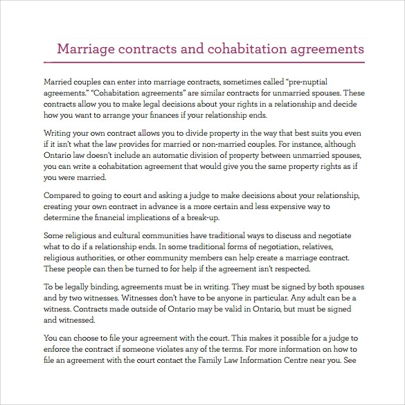 Sample Cohabitation Agreement   Documents In Pdf Word