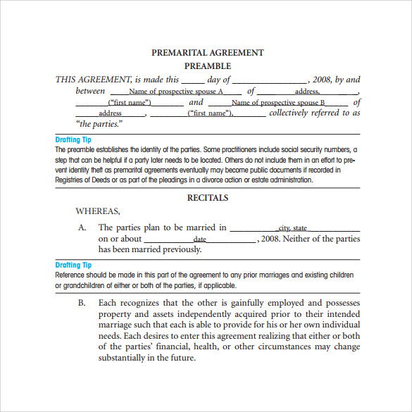 sample prenuptial agreement template