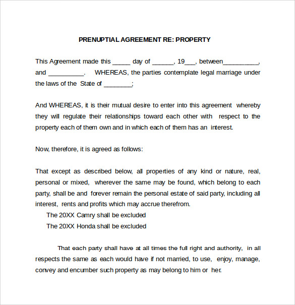 Prenuptial Agreement Template 7 Samples Examples Formtas – Sample Prenuptial Agreement
