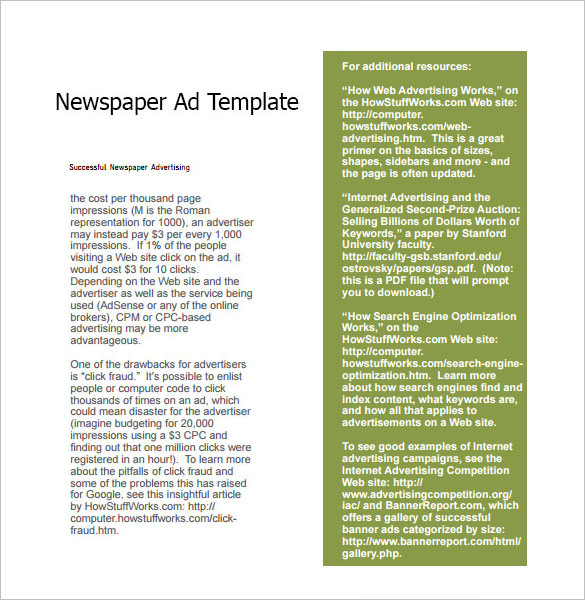 Sample Newspaper Ad - 6+ Documents In Pdf, Word