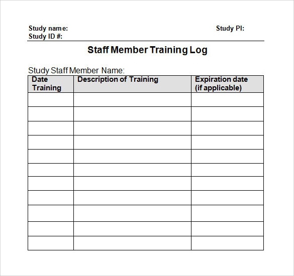 Sample Log Template Documents in PDF Word Excel – Training Log Template
