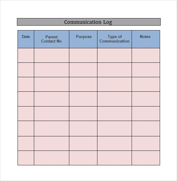 communication log template word download