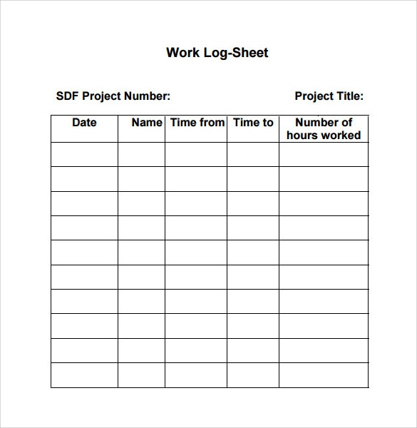 Log Template In Pdf. Daily Work Log Sheet Template Work Log