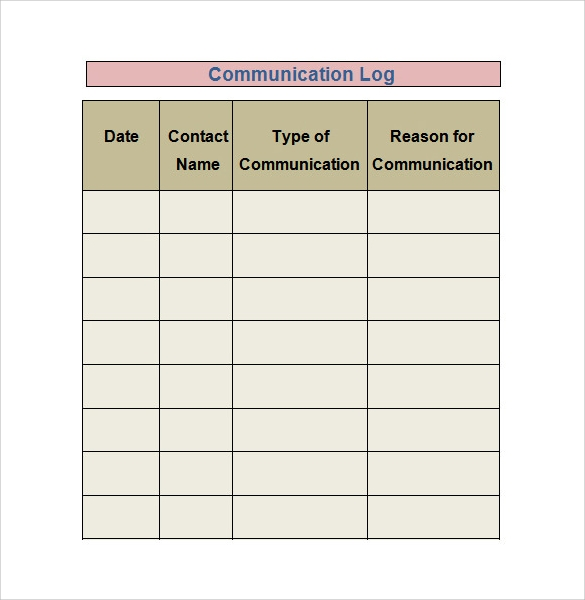 communication log template free download