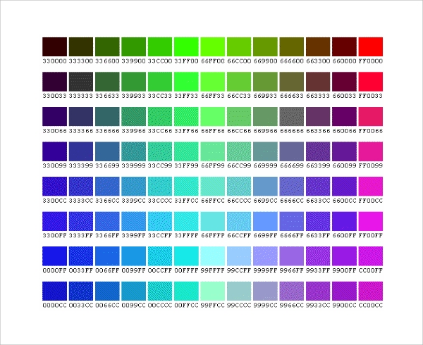 css color chart template download in word