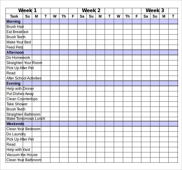 Chore Chart Download  BesikEightyCo