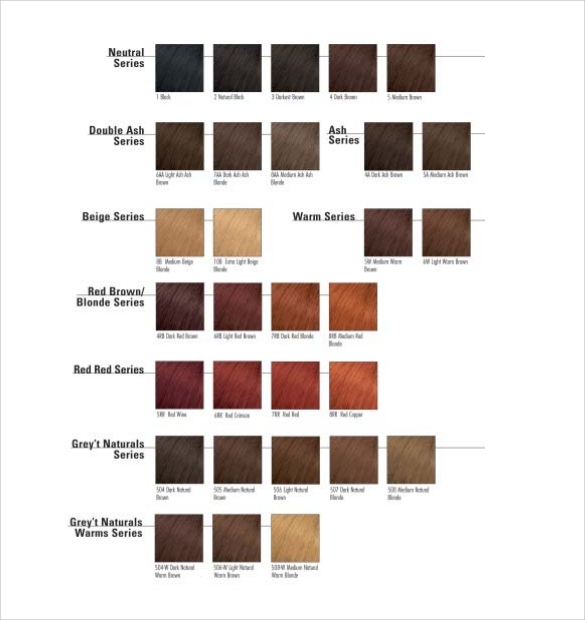hair color chart template pdf download