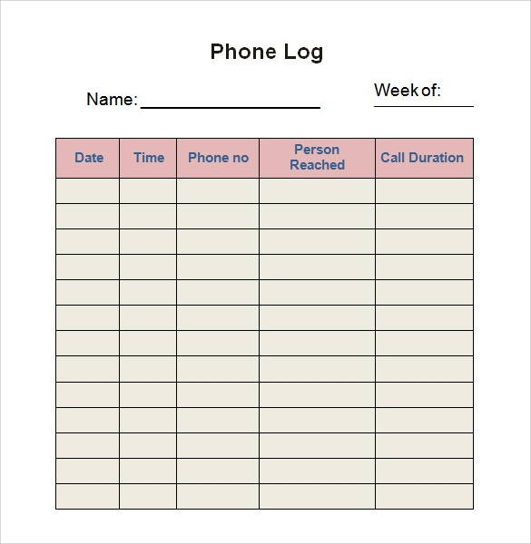 Phone Log Template Free Download
