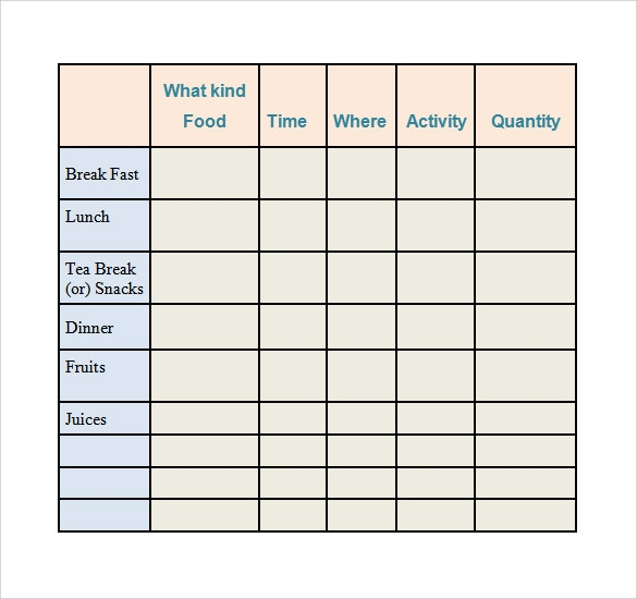 food log template download in word