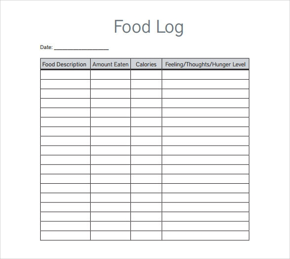 food log template download in pdf