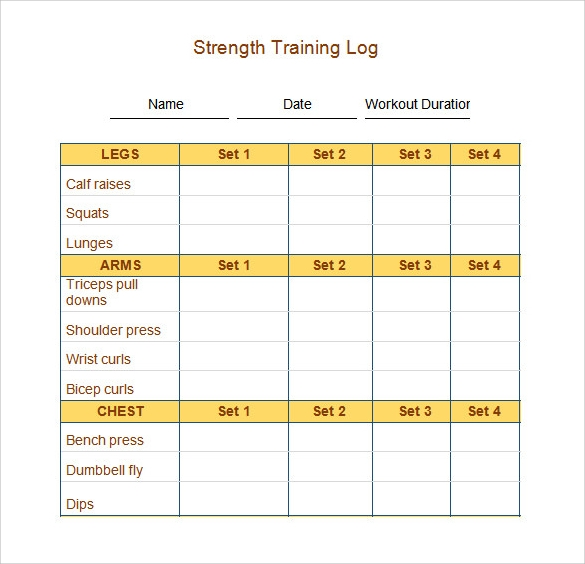Exercise Log Template Exercise Activity Log Template Exercise Log