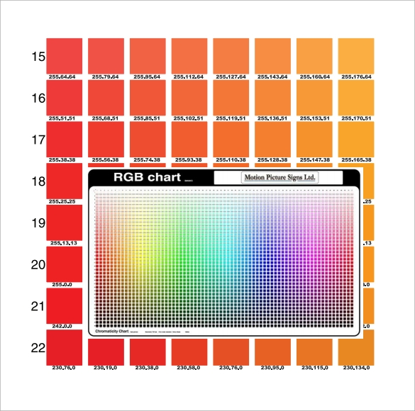 rgb color chart template free